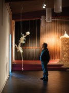 Emulation: Flightless human 2006-present, Emu bones, beeswax, large bird swing